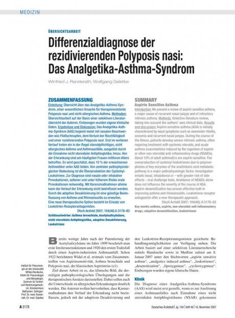 Differenzialdiagnose der rezidivierenden Polyposis...