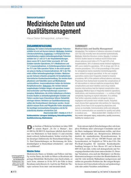 Medizinische Daten und Qualitätsmanagement