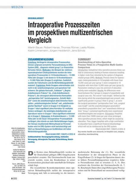 Intraoperative Prozesszeiten im prospektiven...
