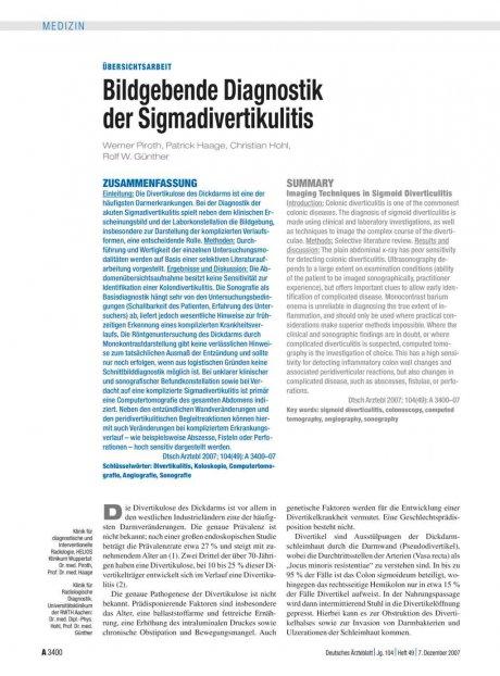 Bildgebende Diagnostik der Sigmadivertikulitis