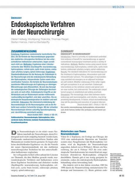 Endoskopische Verfahren in der Neurochirurgie
