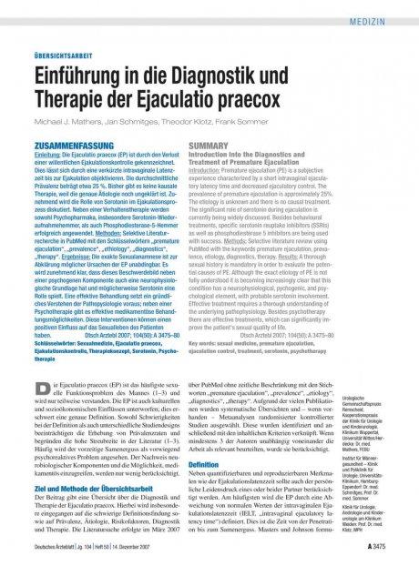Einführung in die Diagnostik und Therapie der...