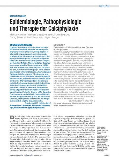 Epidemiologie, Pathophysiologie und Therapie der...