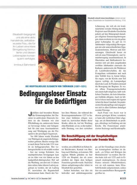 Die Hospitalheilige Elisabeth von Thüringen...