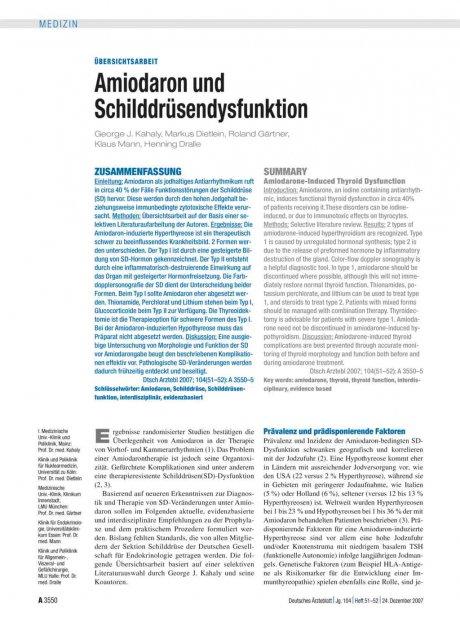Amiodaron und Schilddrüsendysfunktion