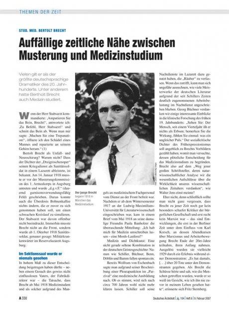 Stud. med. Bertolt Brecht