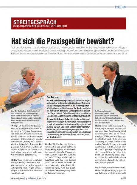 Streitgespräch mit Dr. med. Dieter Wettig und Dr....