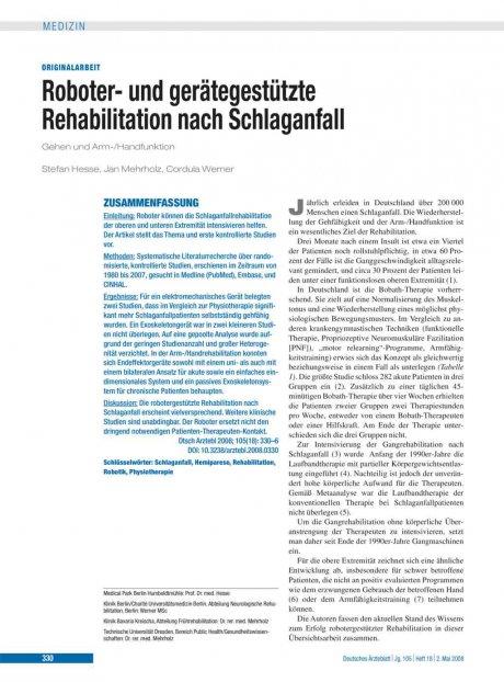 Roboter- und gerätegestützte Rehabilitation nach...