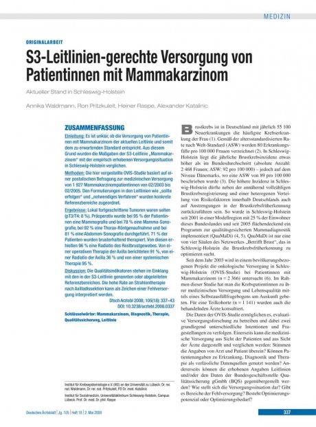 S3-Leitlinien-gerechte Versorgung von Patientinnen...