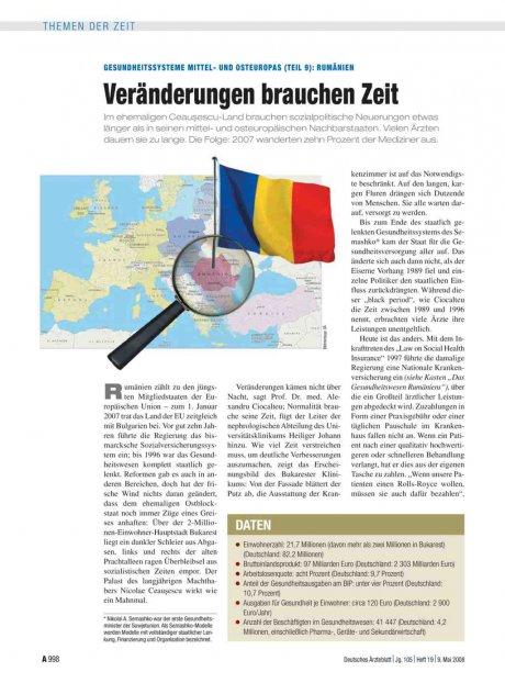 Gesundheitssysteme Mittel- und Osteuropas (Teil 9)...