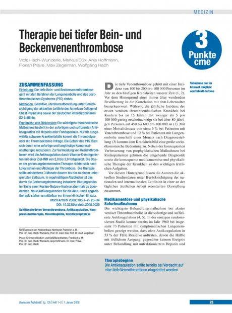 Therapie bei tiefer Bein- und Beckenvenenthrombose
