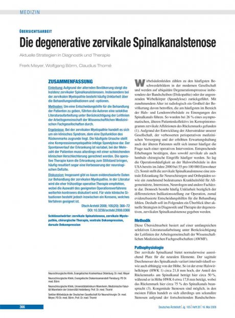 Die degenerative zervikale Spinalkanalstenose