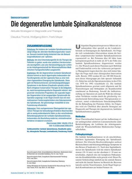 Die degenerative lumbale Spinalkanalstenose