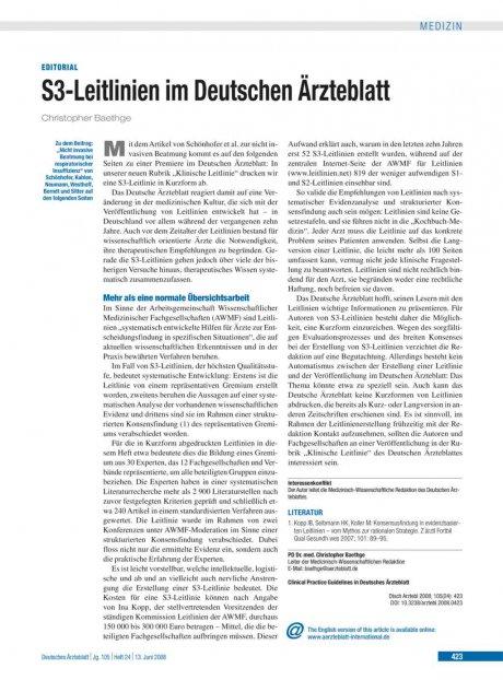 S3-Leitlinien im Deutschen Ärzteblatt