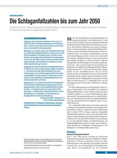 Die Schlaganfallzahlen bis zum Jahr 2050