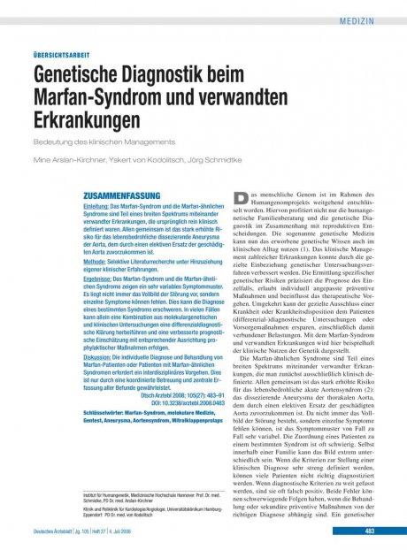 Genetische Diagnostik beim Marfan-Syndrom und...
