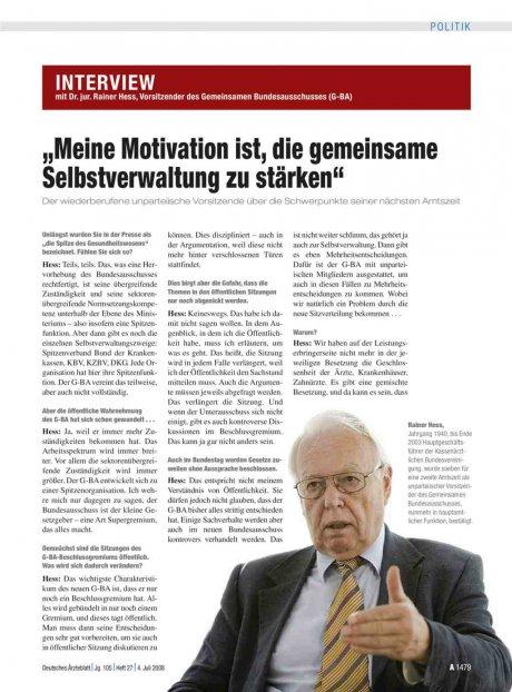 Dr. jur. Rainer Hess, Vorsitzender des Gemeinsamen...