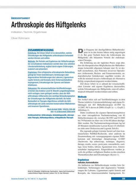 Arthroskopie des Hüftgelenks