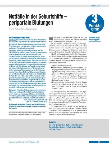 Notfälle in der Geburtshilfe – peripartale...