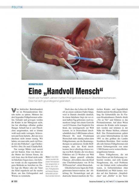 """Neonatologie: Eine """"Handvoll Mensch"""""""