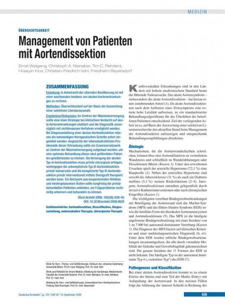Management von Patienten mit Aortendissektion