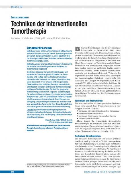 Techniken der interventionellen Tumortherapie