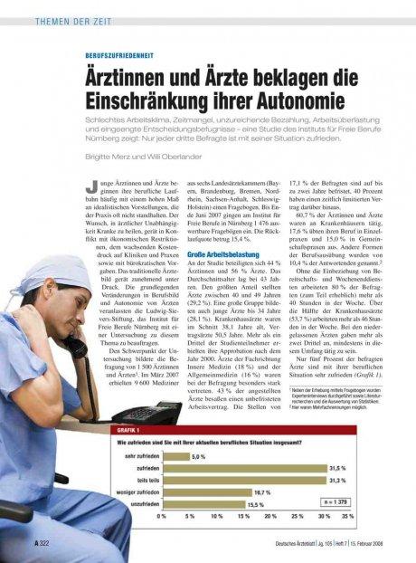 Berufszufriedenheit: Ärztinnen und Ärzte beklagen die Einschränkung ihrer Autonomie