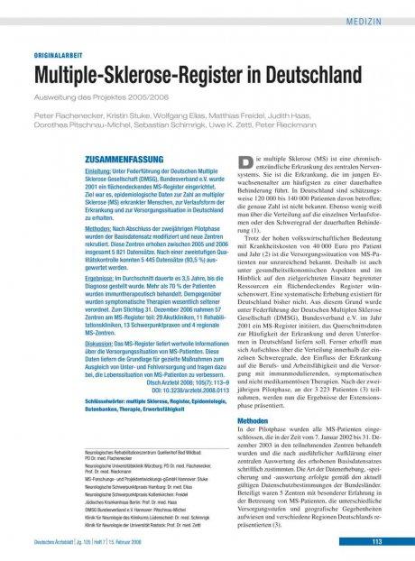 Multiple-Sklerose-Register in Deutschland
