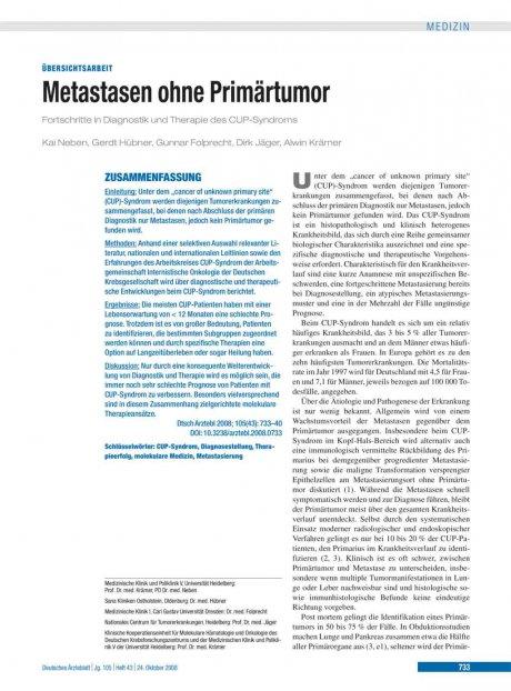 Metastasen ohne Primärtumor