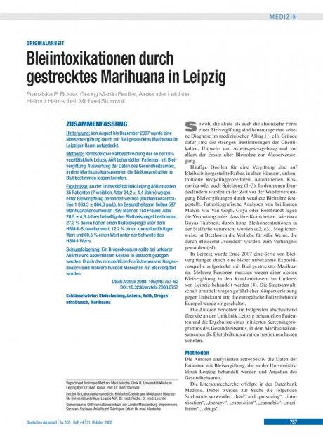 Bleiintoxikationen durch gestrecktes Marihuana in...