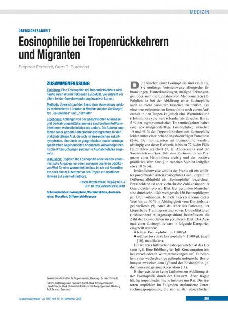 Eosinophilie bei Tropenrückkehrern und Migranten
