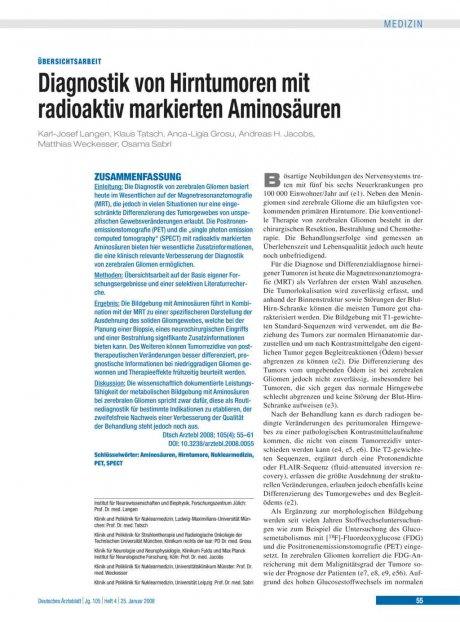 Diagnostik von Hirntumoren mit radioaktiv markierten Aminosäuren