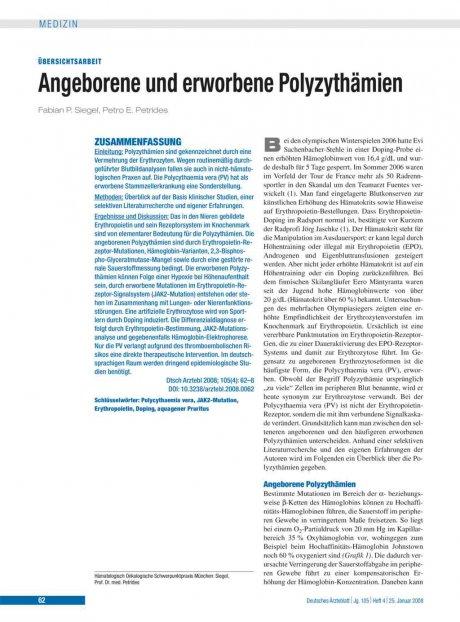 Angeborene und erworbene Polyzythämien