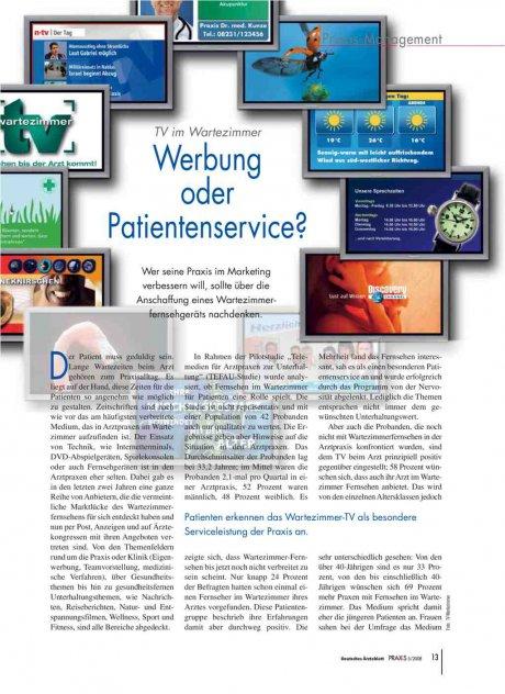 TV im Wartezimmer: Werbung oder Patientenservice?