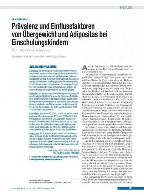 Prävalenz und Einflussfaktoren von Übergewicht und...