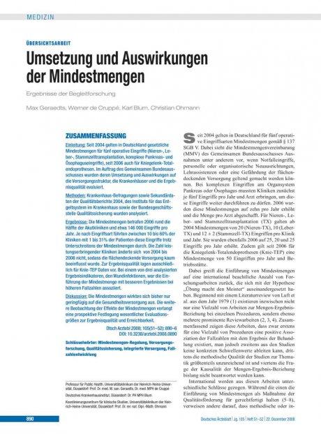 Umsetzung und Auswirkungen der Mindestmengen