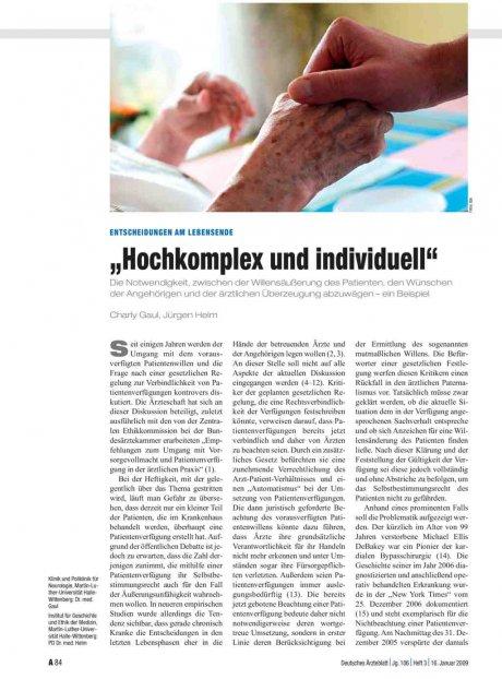 """Entscheidungen am Lebensende """"Hochkomplex und..."""