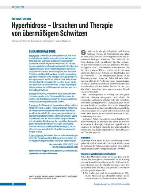 Hyperhidrose – Ursachen und Therapie von...