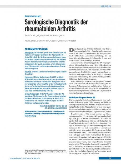 Serologische Diagnostik der rheumatoiden Arthritis