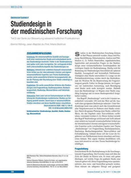 Studiendesign in der medizinischen Forschung