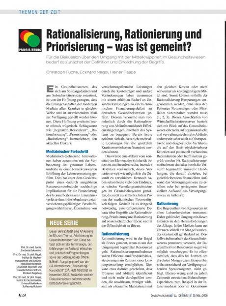 Rationalisierung, Rationierung und Priorisierung –...