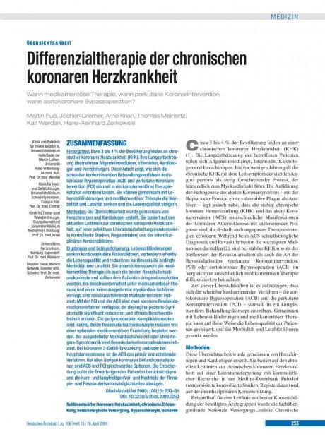 Differenzialtherapie der chronischen koronaren...