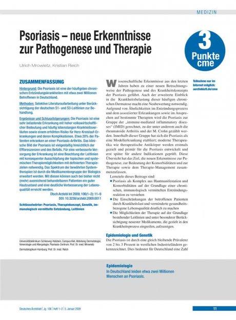 Psoriasis – neue Erkenntnisse zur Pathogenese und...