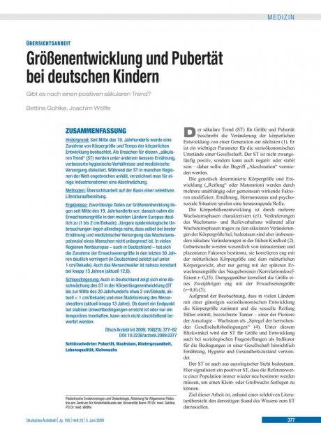 Größenentwicklung und Pubertät bei deutschen Kindern