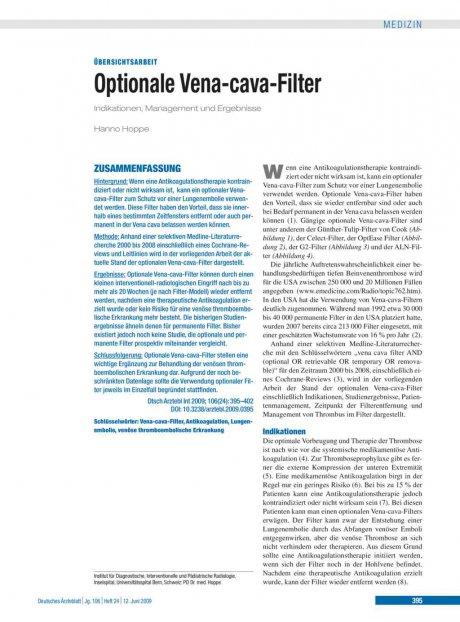 Optionale Vena-cava-Filter