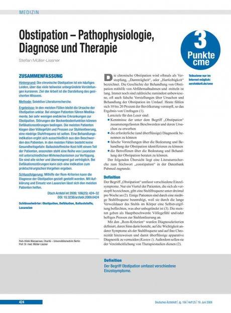 Obstipation – Pathophysiologie, Diagnose und...