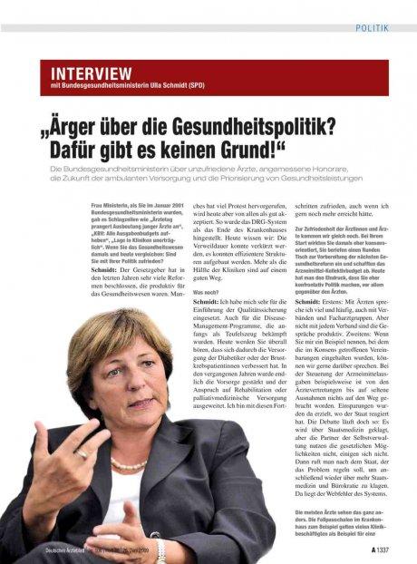 Interview mit Bundesgesundheitsministerin Ulla...