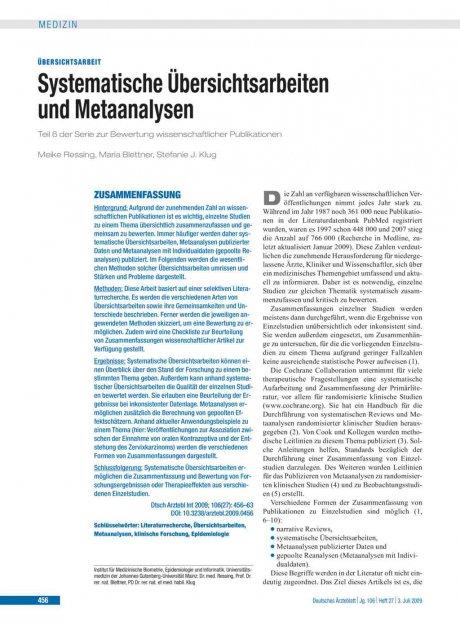 Systematische Übersichtsarbeiten und Metaanalysen