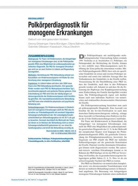 Polkörperdiagnostik für monogene Erkrankungen