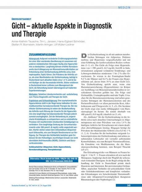 Gicht – aktuelle Aspekte in Diagnostik und...